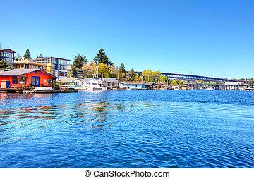 家, 湖, ボート, ワシントン