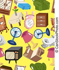 家, 漫画, seamless, furnitur, パターン
