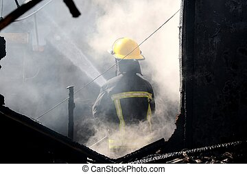 家, 煙, 消防士