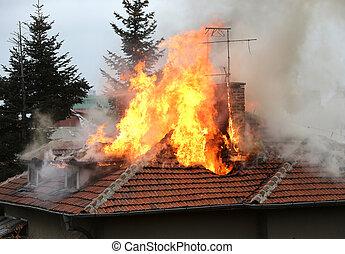 家, 燃焼, 屋根