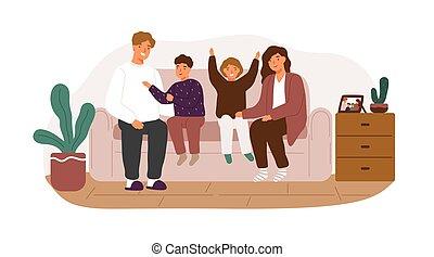 家, 父母, 微笑, 矢量, 套间, 家庭, 女儿, 开支, 快乐, 开心, 周末, 儿子, 孩子, 时间, 欣喜, illustration., 一起坐, isolated., 父亲, 喜欢, 睡椅, 妈妈