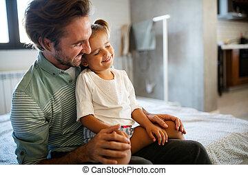 家, 父, 出費, 時間, 一緒に, 娘