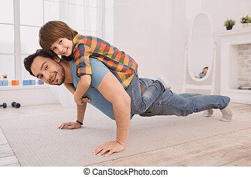 家, 父, 練習, 一緒に, 息子