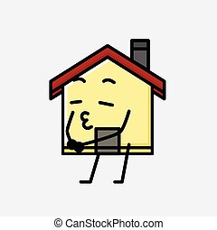 家, 特徴, ベクトル, デザイン, 平ら, スタイル, マスコット, かわいい