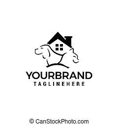 家, 犬, ねこ, ベクトル, デザイン, テンプレート, ロゴ, アイコン