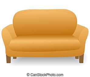 家, 现代, 舒适, 沙发