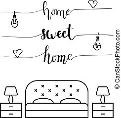 家, 甘い, カリグラフィー, 寝室