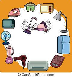 家, 用具, 卡通, 卡片