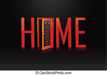 家, 由于, 門