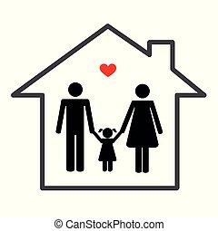 家, 白い背景, 家族, アイコン
