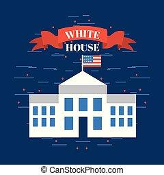 家, 白, アメリカ, イメージ, 関係した