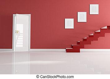 家, 白, 入口, 赤