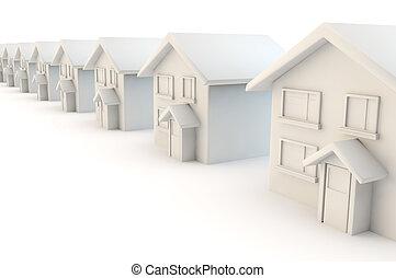 家, 白, 通り, 横列