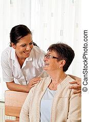 家, 看護, 年配, 看護婦, 年を取った, 心配
