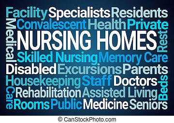 家, 看護, 雲, 単語