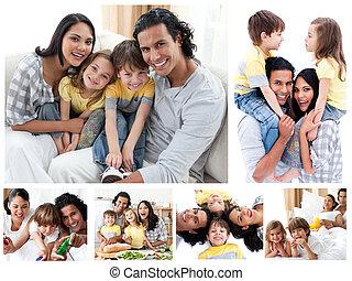 家, 瞬間, 楽しむ, コラージュ, 一緒に, 家族