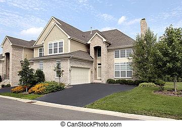 家, 磚, 郊區