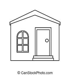 家, 私用, アウトライン, 構造, 住宅