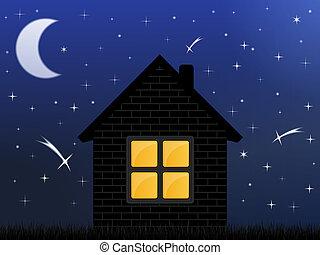 家, 空, 夜