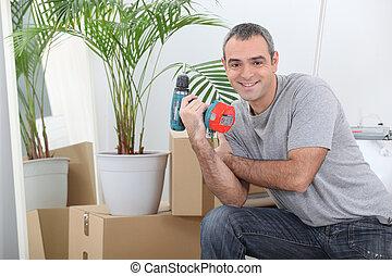 家, 箱, 動きなさい, パッキング, 人