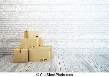 家, 箱, 引っ越し, 新しい