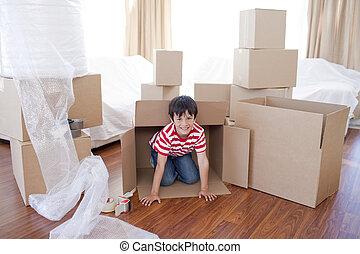 家, 箱, 新しい子供, 遊び