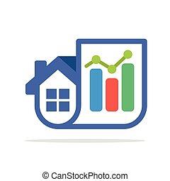 家, 統計量, 販売, 組合せ, アイコン, 報告, &, イラスト