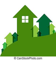 家, 緑, 値