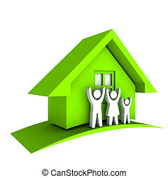 家, 緑, 家族, 3d