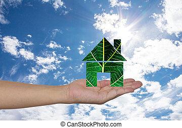 家, 緑, 手