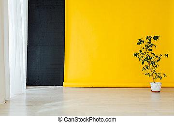 家, 緑, 黄色の背景, 黒, 植物