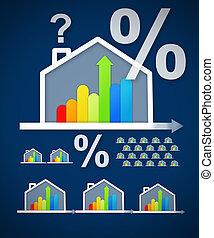 家, 背景, パーセント, グラフィック, 青, 効率的である, 質問, エネルギー, に対して, 印