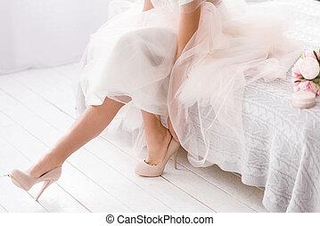 家, 花嫁, 若い, ベッド, モデル