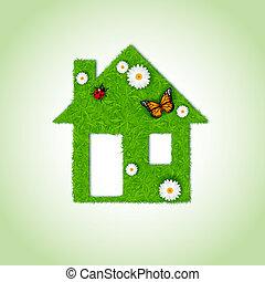 家, 草, 背景, アイコン