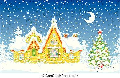 家, 華やか, 丸太, 雪, 下に