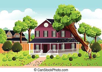 家, 落ちる, 木, 屋根, 大きい