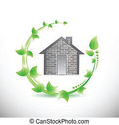家, 葉, デザイン, イラスト