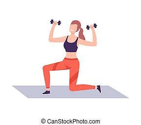 家, 行使, 插圖, 套間, 婦女, 俱樂部, 健身, 生活方式, dumbbells, 矢量, 或者, 健康, 體操, 風格, 年輕, 活躍