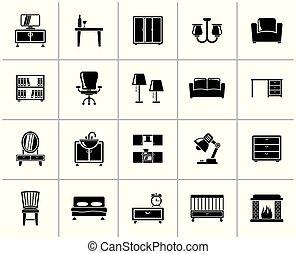 家, 装置, 家具, 黒, アイコン