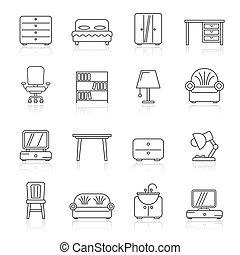 家, 装置, 線, 家具, アイコン