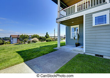 家, 裏庭, porch., walkout, デッキ
