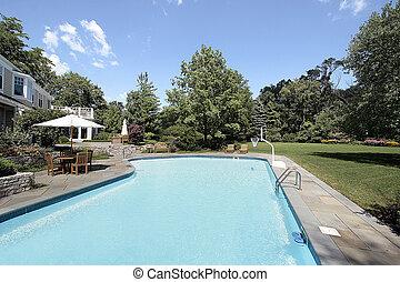 家, 贅沢, プール, 水泳