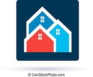 家, 近所, ロゴ