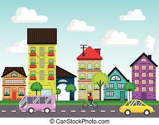 家, 通り, カラフルである