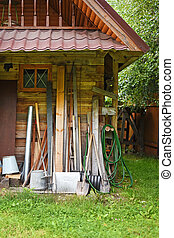 家, 道具, 庭