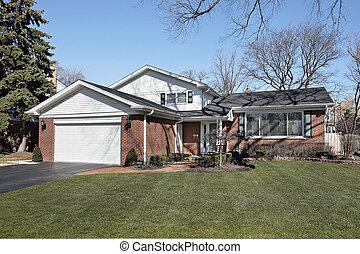 家, 郊區, 磚