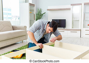 家, 集まっていること, 人, 家具