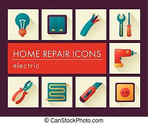 家, 電気である, 修理, アイコン