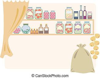 家, 食料貯蔵室, 食品。