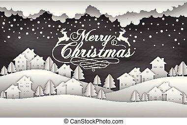 家, 黒, 雪, 背景, クリスマス